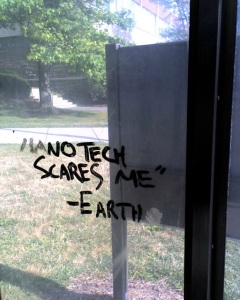 Graffiti at a Cornell University bus shelter