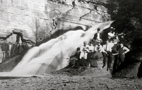 Cornell students at Potter's Falls, ca. 1903. M. Paula Geiss Scrapbook, Cornell University RMC