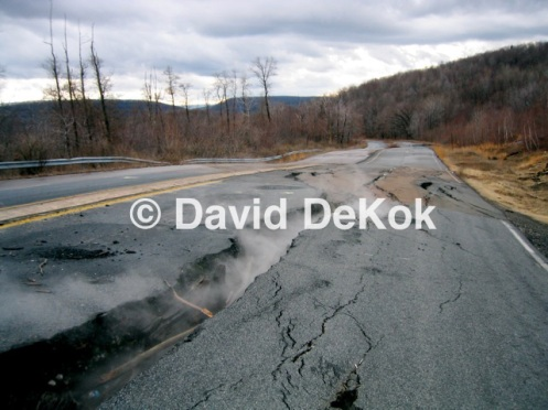 Steaming highway crack, ca. 2005