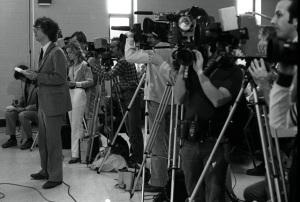 David DeKok, left, at Thornburgh press conference in Centralia, 3-31-1981 (David Haupt)