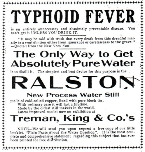 Newspaper advertisement during 1903 typhoid epidemic in Ithaca