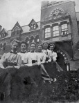 Cornell students in front of Sage College, the dormitory for women, ca. 1903. M. Paula Geiss Scrapbook, Cornell University RMC