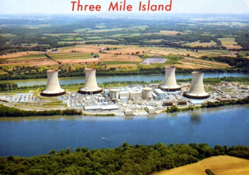 Marshall Dussinger aerial photo of Three Mile Island nuclear plants, looking east.